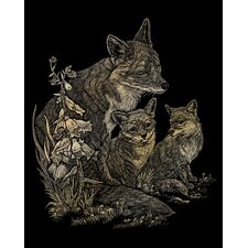 Fox and Cubs Art Engraving