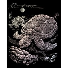 Holographic Sea Turtle Art Engraving