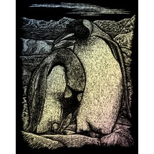 Holographic Emperor Penguin Art Engraving