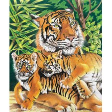 Colored Pencil By Numbers Intermediate Medium Tiger and Cubs Colored Pencil