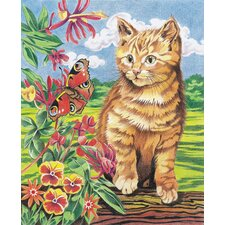 Colored Pencil By Numbers Intermediate Medium Kitten and Butterfly Colored Pencil