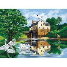 Paint By Numbers Large Watermill Painting