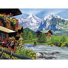 Paint By Numbers Large Mountain Chalets Painting
