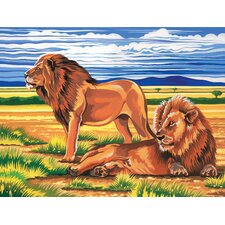 Paint By Numbers Large Resting Lions Painting