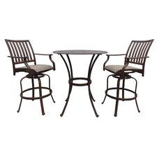 <strong>Panama Jack Outdoor</strong> Island Breeze 3 Piece Slatted Pub Dining Set