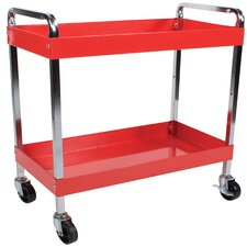 2 Shelf Service Cart with Dual Handles
