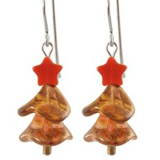 Twinkling Amber Christmas Tree Sterling Silver Earrings