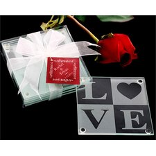 <strong>Kate Aspen</strong> Love Glass Coaster Gift Set with Ribbon and Thank You Tag