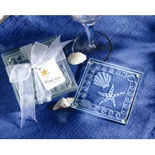 Shell and Starfish Frosted Glass Coaster (Set of 48)