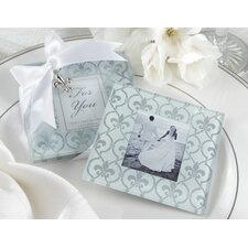 "<strong>Kate Aspen</strong> ""Fleur-De-Lis"" Frosted-Glass Photo Coaster (Set of 2)"
