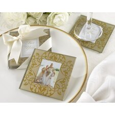 """Golden Brocade"" Elegant Glass Photo Coaster"
