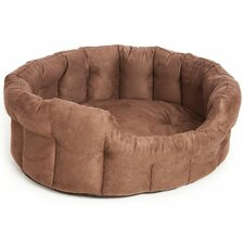 Machine Washable Premium Oval Faux Suede Softee Dog Bed