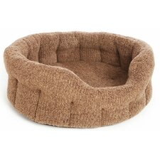 Machine Washable Premium Oval Sherpa Fleece Softee Dog Bed