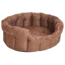 Machine Washable Premium Oval Faux Suede Softee Dog Bed with Memory Foam Base Cushion