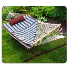 Cotton Rope Hammock with Stand, Quilted Pad and Pillow