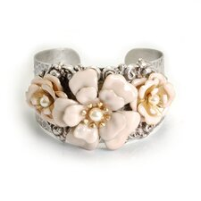 Blush Flowers on Silver Cuff Bracelet
