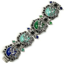 Vintage Czech Glass Jasmine Panel Bracelet