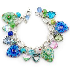 1950s Candy Glass Hearts Blues Charm Bracelet