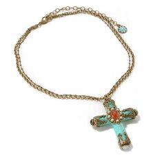 Metal Turquoise Cathedral Cross Necklace