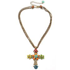 Metal RetroMEX Floral Cross Cultured Pearl and Crystal Necklace