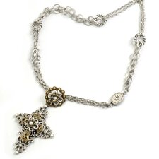 Metal Chapel of Flowers Cross Crystal Necklace