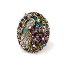 Peacock Crystal Floral Ring