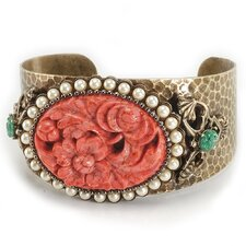 Vintage Floral Coral and Cultured Pearl Cuff Bracelet
