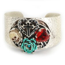 Skull, Heart, Rose and Cross Crystal Cuff Bracelet