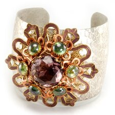 Flower Medallion Glass/Enamel Cuff Bracelet