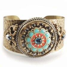 Rosette Enamel/Glass Cuff Bracelet