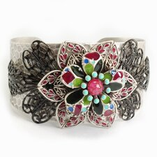 <strong>Sweet Romance</strong> Dawn or Sunset Flowers Cuff Bracelet