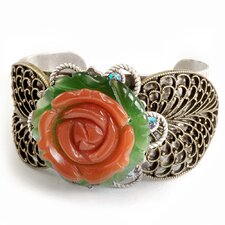 Rose and Leaves Coral Glass Cuff Bracelet