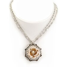 Shabby Rose and Cultured Pearl Necklace