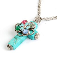 <strong>Sweet Romance</strong> Flower Cross Turquoise Necklace