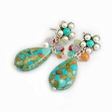 Teardrop Cluster Turquoise Drop Earrings