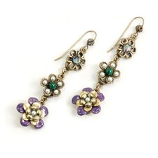 String of Flowers Pearl Drop Earrings