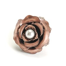 Camellia Copper Flower Cultured Pearl Ring