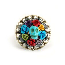 Turquoise Skull Wreath Ring