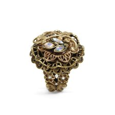 Vine and Filigree Crystal Ring
