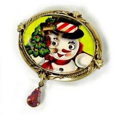 Christmas Snowman Garnet Pin