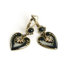 Enamel Heart Round Crystal Drop Earrings