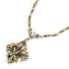 <strong>Sweet Romance</strong> French Ritz Fleur De Lis Crystal Necklace