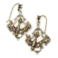 <strong>Sweet Romance</strong> Little Flying Bird Crystal Drop Earrings