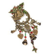 Christmas Holly Bells Pin