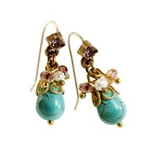 Cluster Pear Cut Turquoise Drop Earring