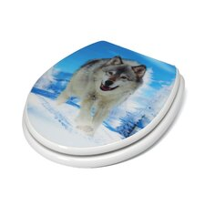 3D Series Snow Wolf Round Toilet Seat