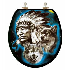 3D Vario Scenario Series Indian / Wolf Round Toilet Seat