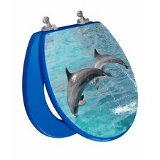 3D Ocean Series Two Dolphins Jumping Elongated Toilet Seat
