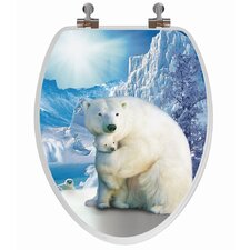 3D Series Polar Bear Elongated Toilet Seat
