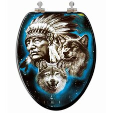 3D Vario Scenario Series Indian / Wolf Elongated Toilet Seat
